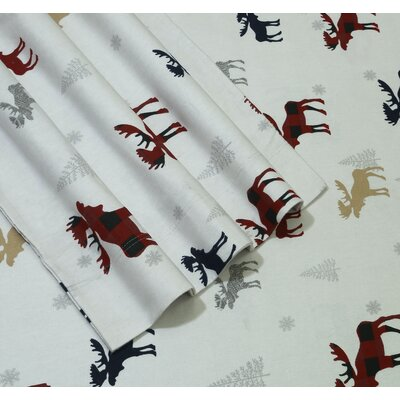 Plaid Moose 170-GSM Printed Flannel Extra Deep Pocket 100% Cotton Sheet Set Size: California King