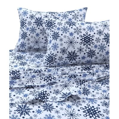 Snowflakes 170-GSM Printed Flannel Extra Deep Pocket 100% Cotton Sheet Set Size: King