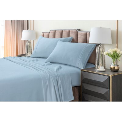 Johannsen Extra Deep Pocket Flannel Sheet Set Color: Blue, Size: King