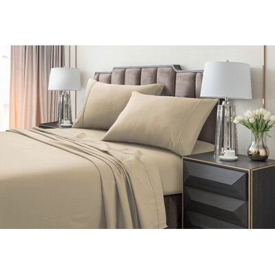 Johannsen Extra Deep Pocket Flannel Sheet Set Color: Sand, Size: Full