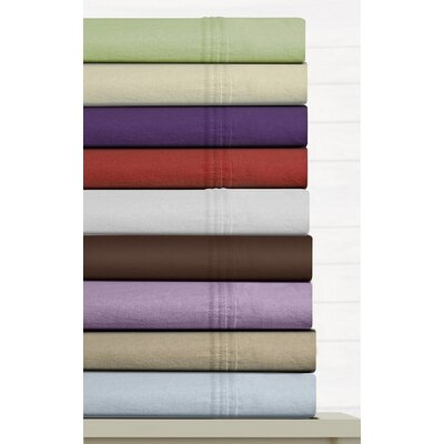 Tribeca Living Luxury Solid Cotton Deep Pocket Flannel Sheet Set - Size: Queen, Color: Chocolate at Sears.com