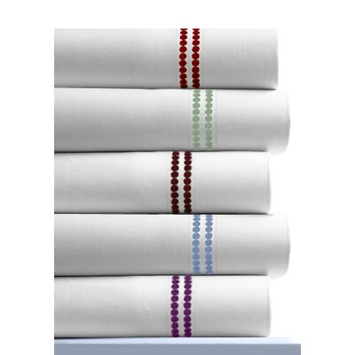 Tribeca Living Dot Embroidered 400 Thread Count Cotton Deep Pocket Sheet Set - Color: Chocolate, Size: Queen at Sears.com