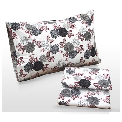 Dahlia Floral Printed Sheet Set Size: Queen