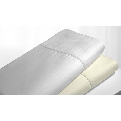 Stripe Hemstitched Egyptian Quality Cotton Pillowcase Size: Standard, Color: Ivory