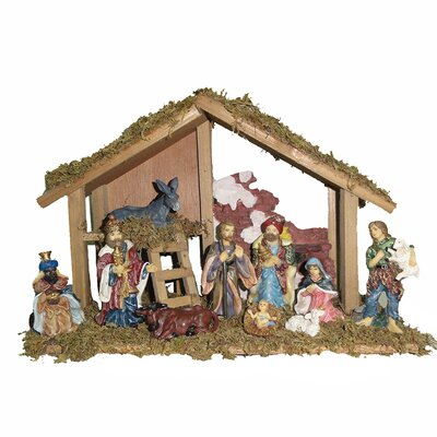 Wooden Stable with 10 Resin Figures Nativity Set H2244