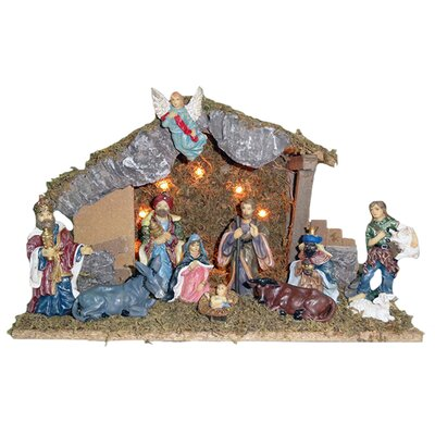 Wooden Stable with 11 Resin Figures Lighted Nativity Set H2246