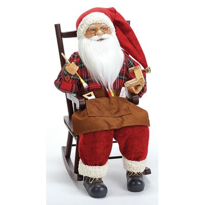 Mache Santa on Rocking Chair D2744