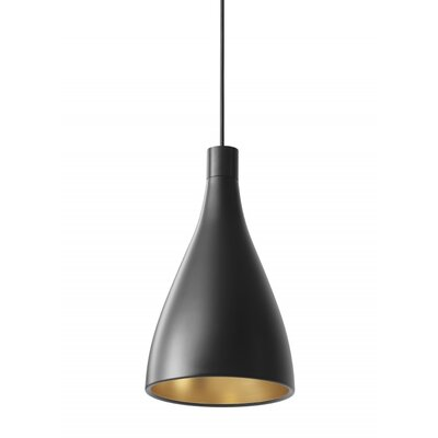 Swell 1-Light Mini Pendant Size: Narrow, Finish: Black