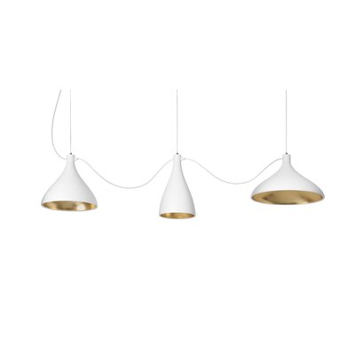 Swell String Mixed 3-Light Kitchen Island Pendant Finish: White