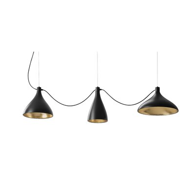 Swell String Mixed 3-Light Kitchen Island Pendant Finish: Black