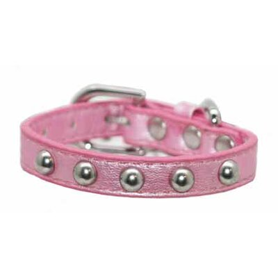 Silver Stud Dog Collar in Pink