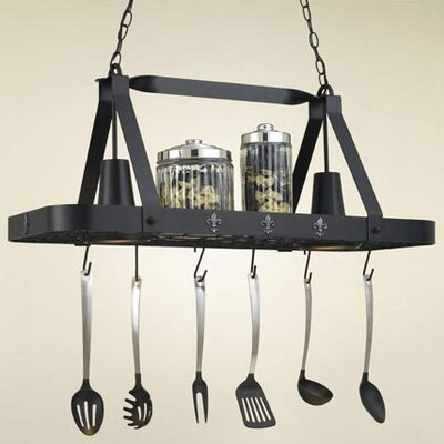 Fleur de Lis Rectangular Hanging Pot Rack with 2 Lights Accent Finish: None, Base Finish: Tuscany