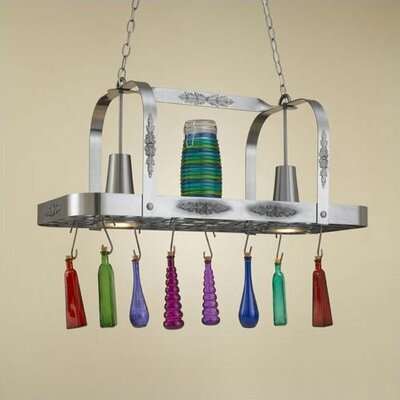 Monterey Rectangular Pot Rack with 2 Lights Accent Finish: None, Base Finish: Powder Coat Rust
