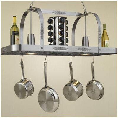 Monterey Rectangular Hanging Pot Rack with 2 Lights Accent Finish: Gold Accents, Base Finish: Tuscany