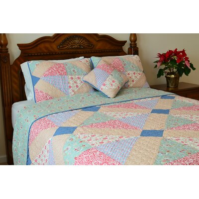 Angie Patchwork Reversible Quilt Size: Queen