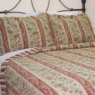 Cary Floral Stripe Sham Size: Queen