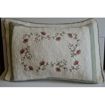 Nancy Flower Embroidery Quilt-Standard Sham