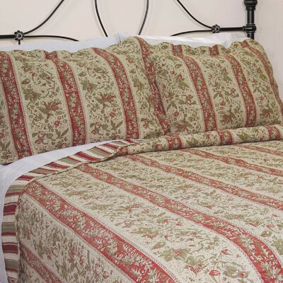 Cary Floral Stripe Quilt Size: King