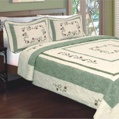 Nancy Flower Embroidery Quilt Size: King
