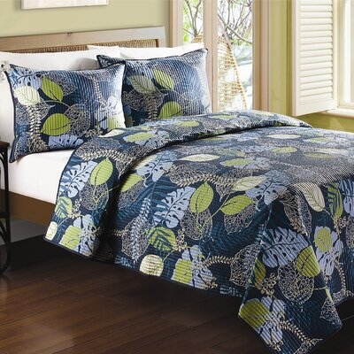 Tropical Leaves Quilt Size: Queen