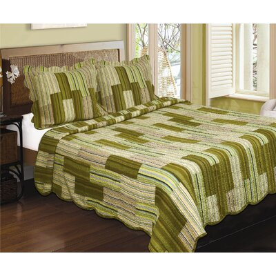 Camping Patchwork Stripe Quilt Sham Size: Standard