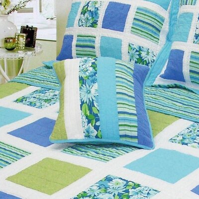 Ocean Square Patchwork Quilt Cotton Throw