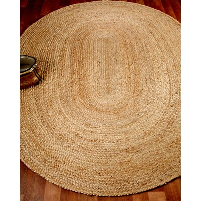 Edison Oval 100% Natural Jute Hand Braided Area Rug Rug Size: Oval 5 x 8