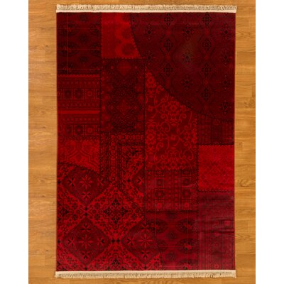 Turkish Afghan Red Area Rug Rug Size: 53 x 76
