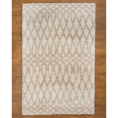 Prague Hand-Woven White/Ivory Area Rug Rug Size: Rectangle 53 x 8