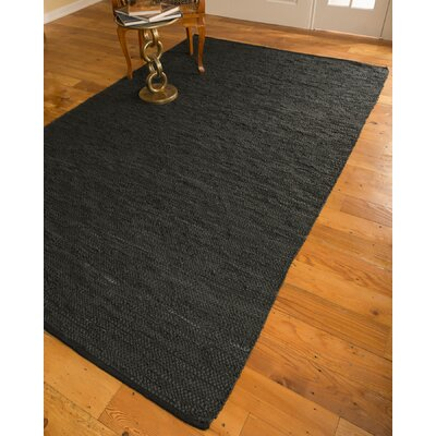 Hand-Loomed Black Area Rug Rug Size: 6 x 9