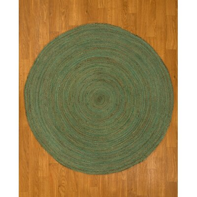 Hand Woven Green Area Rug Rug Size: Round 6