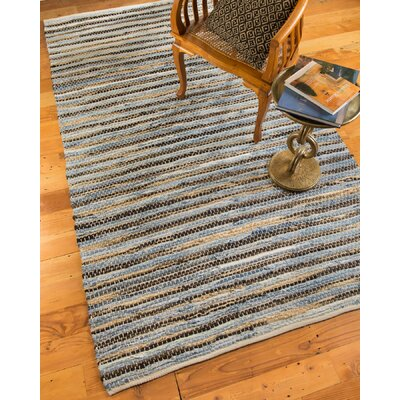 Malibu Hand-Loomed Blue/Brown Area Rug Rug Size: 5 x 8