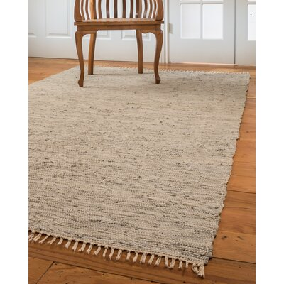 Limassol Leather Hand-Woven Gray Area Rug Rug Size: 5 x 8