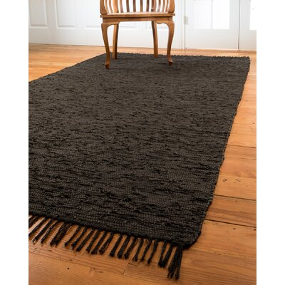 Limassol Leather Black Area Rug Rug Size: 5 x 8