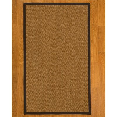 Aspasia Hand Woven Fiber Sisal Brown/Fudge Area Rug with Rug Pad Rug Size: 4 x 6