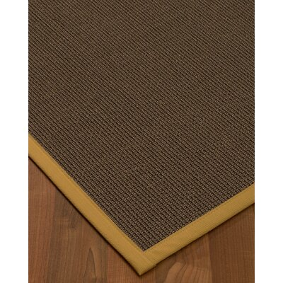 Brokaw Hand Woven Solid Brown Border Area Rug Rug Size: Rectangle 9 X 12