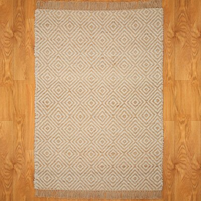 Indus Beige/White Area Rug Rug Size: Rectangle 6 x 9