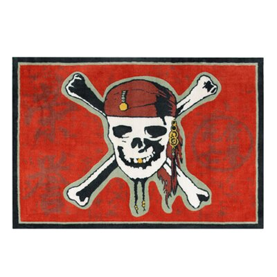 Pirate 3 Red Skull Red Area Rug