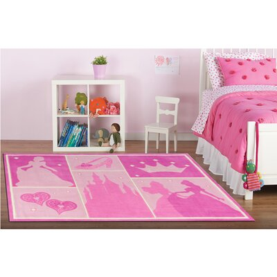 Princess Castle Patchwork Pink Area Rug