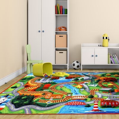 Hit Thomas Polyester Orange/Green Kids Rug