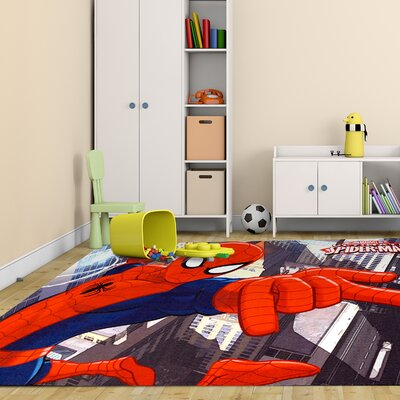 Marvel Spiderman Polyester Red/Blue Kids Rug 46912
