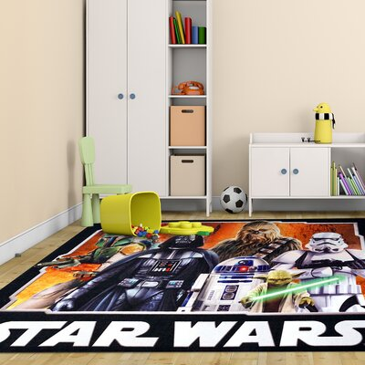 Lucas Star Wars Polyester Black/Orange Kids Rug