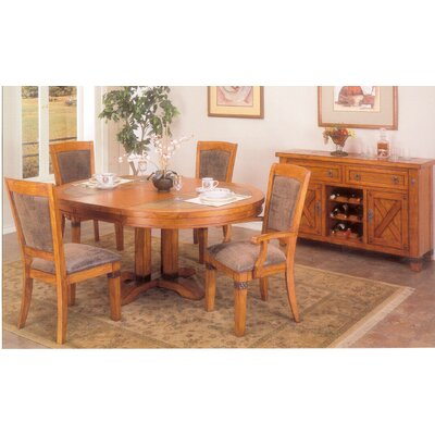 alpine furniture santa fe 5 piece round dining table set with leaf in