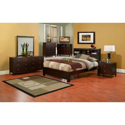 Queen Bedroom Furniture on Alpine Furniture Solana Queen Bedroom Set With Bookcase Headboard In
