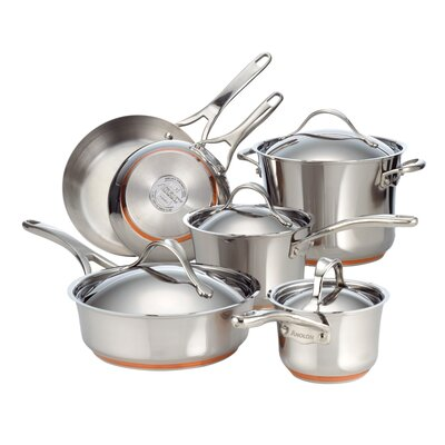 Anolon Nouvelle Copper Stainless Steel 10 Piece Cookware Set