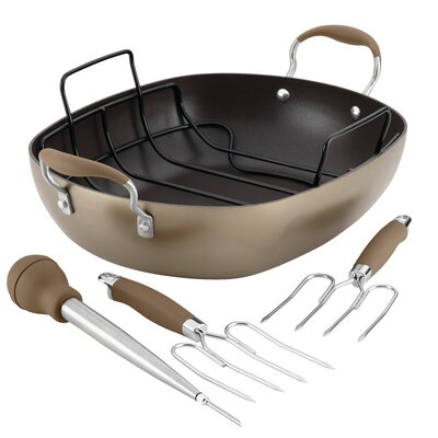 5 Piece Non-Stick Roaster Set Color: Bronze