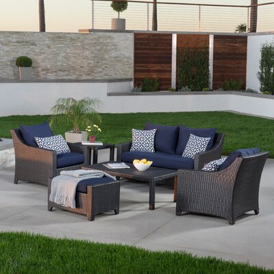 Northridge 6 Piece Deep Seating Group with Cushions Fabric: Navy