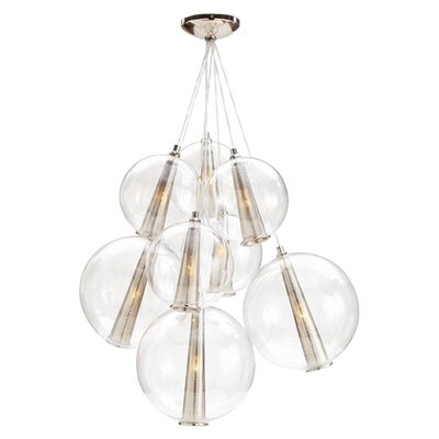 Caviar Fixed 8-Light Cluster Pendant Size: Large, Finish: Polished Nickel / Clear