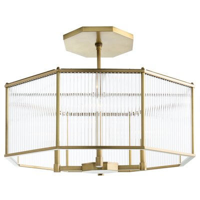 Windsor Smith for Arteriors 4-Light Drum Chandelier Finish: Antique Brass