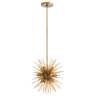 12-Light Sputnik Chandelier Color: Antique Brass